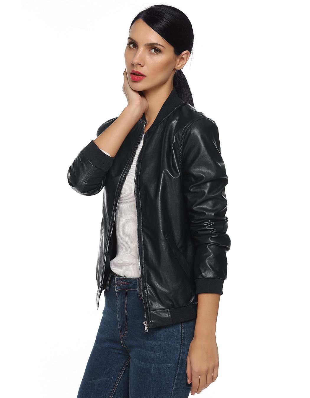 Women Casual Zipper Synthetic Leather Biker Jacket Coat 0
