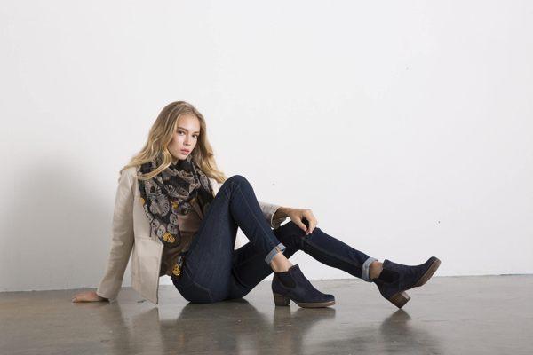 Gabor 縫紋交露踝時尚跟靴 黑 粗跟│中跟│寬楦│皮革 1