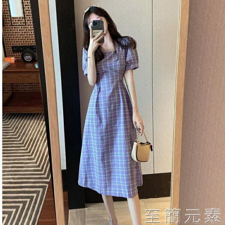 洋裝 大碼女裝新款夏裝微胖女生穿搭泡泡袖法式洋裝收腰顯瘦氣質