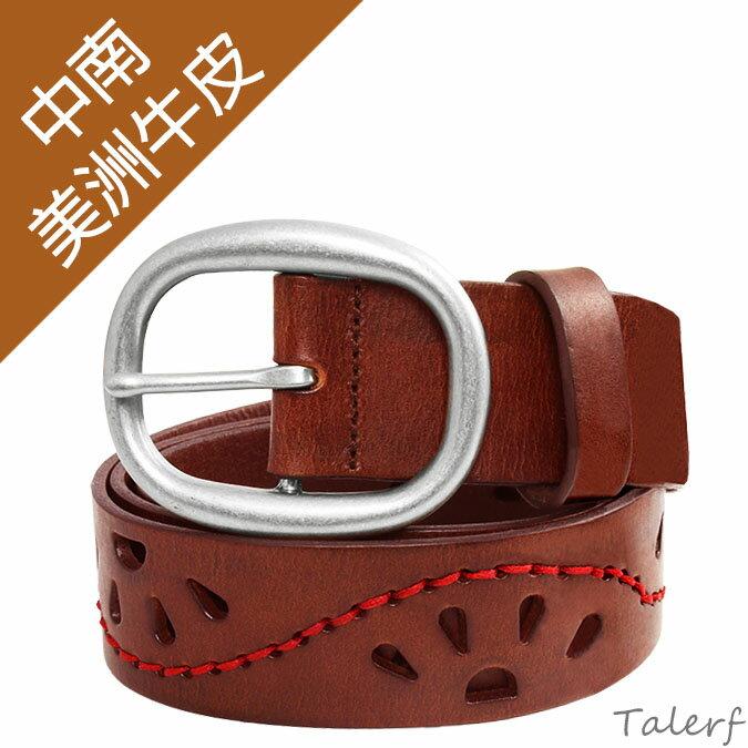 女用牛皮皮帶設計款腰帶真皮皮帶 優雅古典風皮帶(紅棕色)→現貨