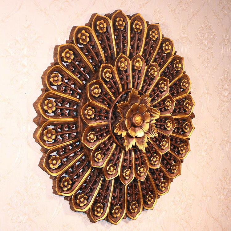東陽木雕掛件實木家居客廳背景墻壁飾玄關壁掛柚木木雕畫圓形招財