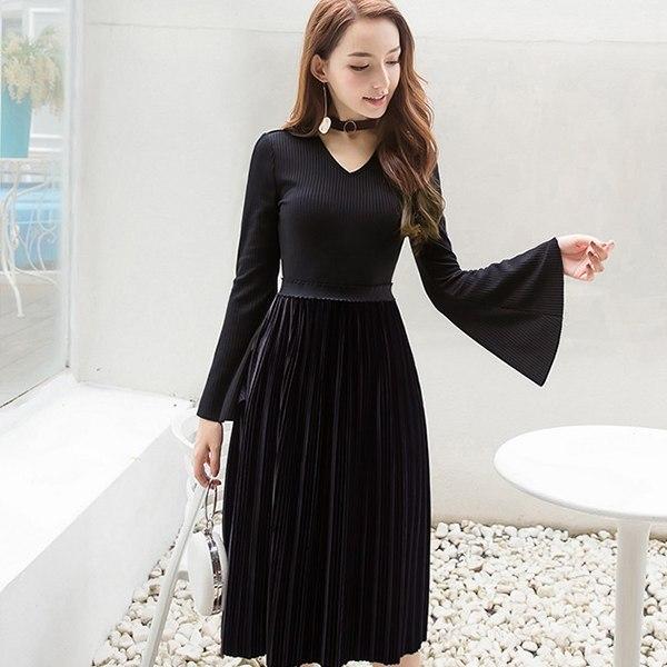 灰姑娘[98633-QF]大V領設計浪漫韓國絨長袖洋裝連身裙~秋冬新款~