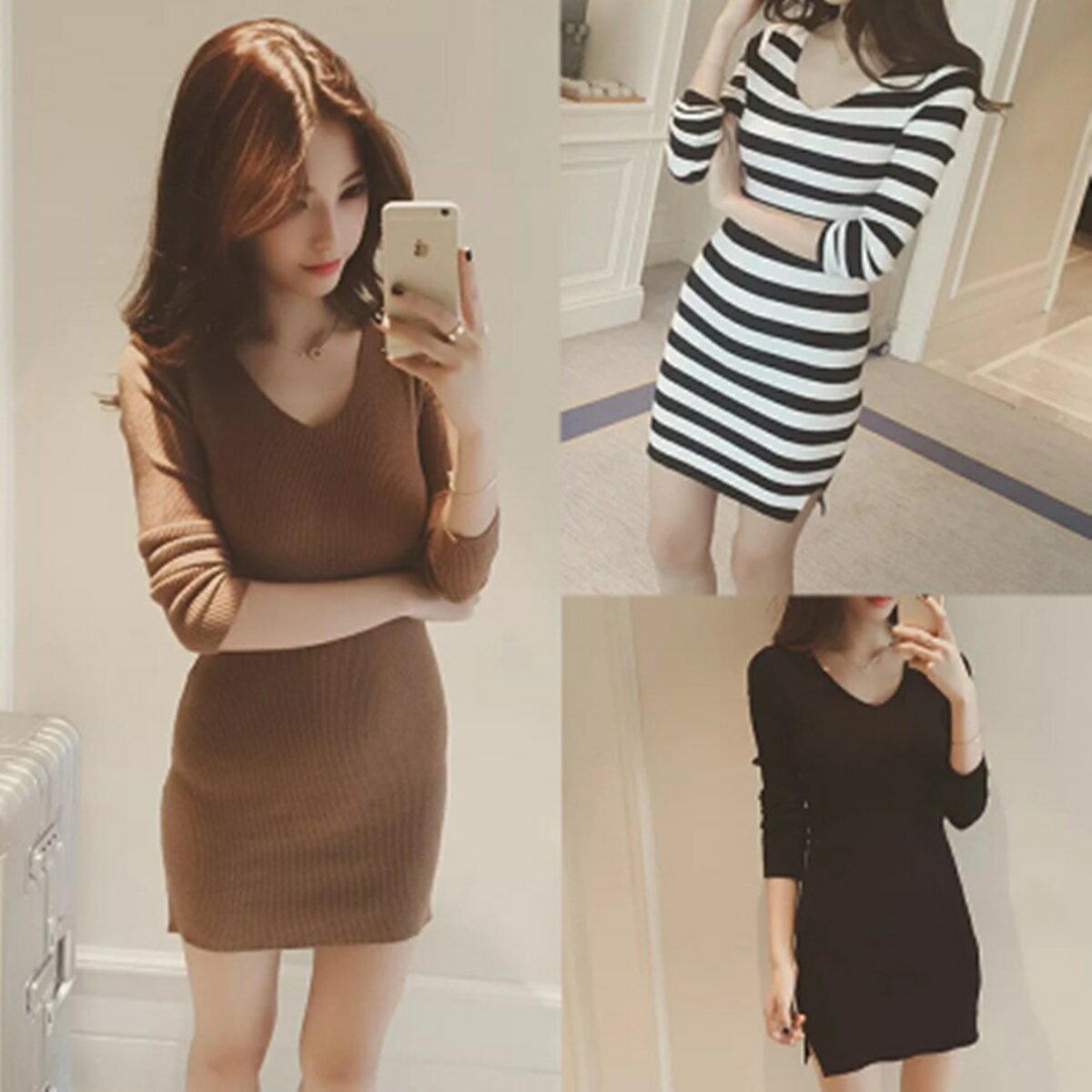 PS Mall V領純色修身中長款打底套頭針織衫連身裙 洋裝~T2846~ ~  好康折扣