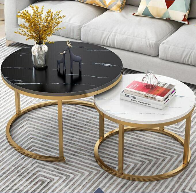 茶几 北歐茶几簡約現代創意小戶型家用客廳輕奢圓形組合鐵藝小茶几桌子