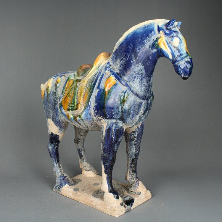 唐三彩戰馬擺件藍釉窯變仿古做舊古玩古董仿古老貨陶瓷器收藏品