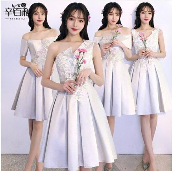 天使嫁衣【BL135A】灰色緞面質感蕾絲貼花伴娘4款小禮服˙預購客製款