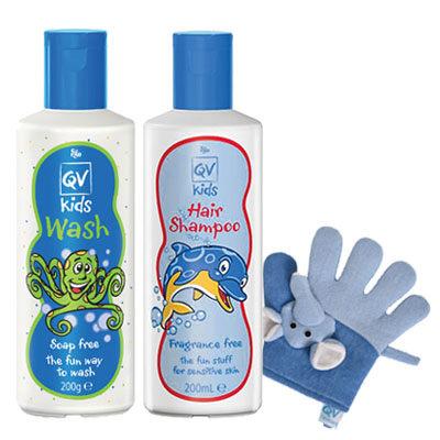 *快樂清潔組*【QV意高】兒童舒敏潔膚乳 200ml 保濕洗髮乳 200ml (加贈溫和大象沐浴手套)
