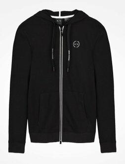 美國百分百【Armani Exchange】外套 AX 連帽 棉質 夾克 亞曼尼 男 上衣 黑色 XS S號 I433