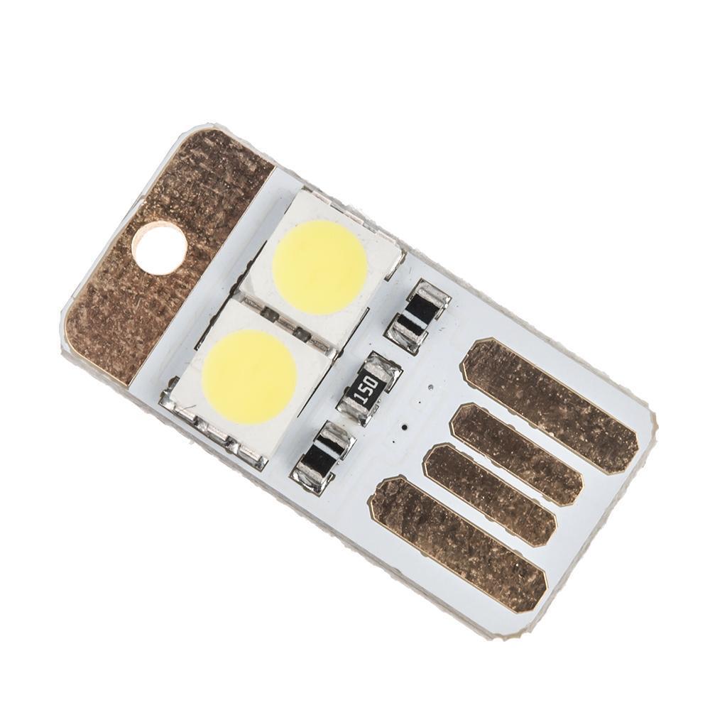 Pocket Card Lamp Bulb LED Keychain Mini LED Night Light Portable USB Power White 2