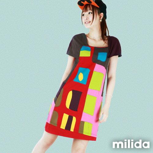 【Milida,全店七折免運】不對稱袖子設計洋裝 0