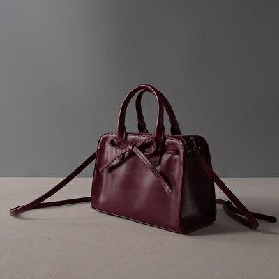 肩背包真皮手提包-紫色蝴蝶結牛皮方型女包包73ut42【獨家進口】【米蘭精品】 0