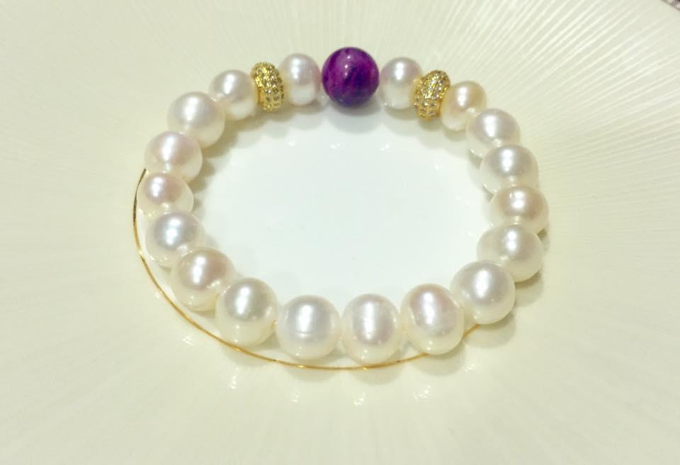 紫醉 舒俱來石綴珍珠典雅手鍊