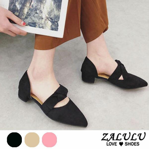 ZALULU愛鞋館7DE017預購淑女款尖頭蝴蝶結低跟包鞋-粉米黑-35-39