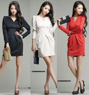 天使嫁衣:天使嫁衣【HL2818】3色中大尺碼知性氣質簡約時尚寬腰包臀顯瘦長袖洋裝˙現貨