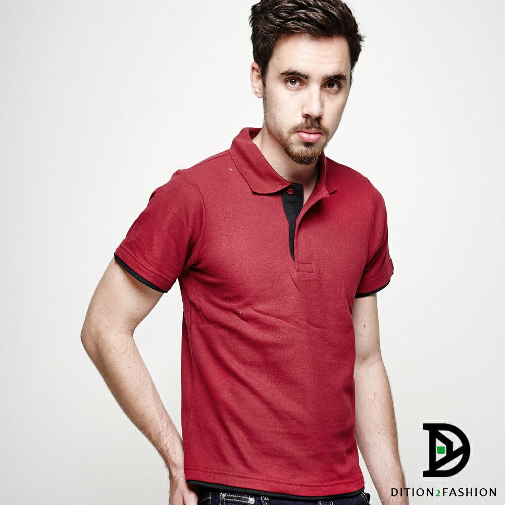 DITION 職人拼接雙色POLO衫 多尺寸情侶款 紳士休閒 0