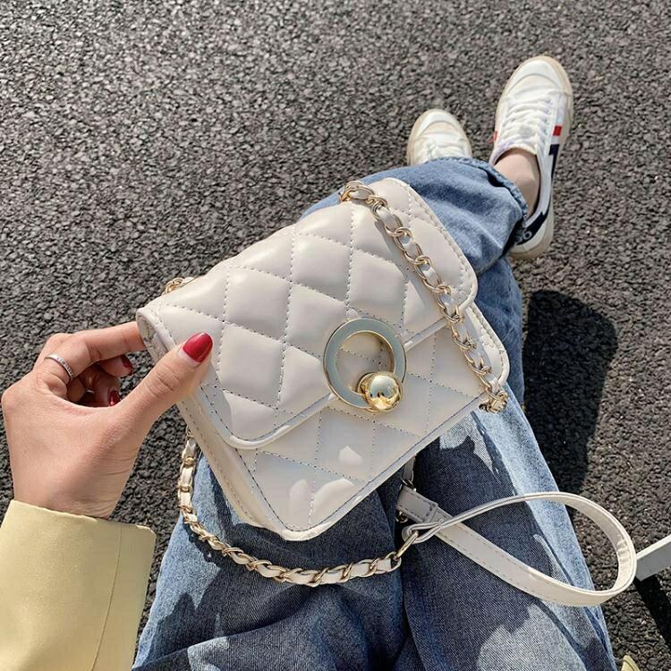 【快速出貨】錬條包百搭ins小包包女包2020流行新款潮時尚錬條側背包簡約斜背小方包 創時代 雙12購物節