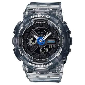 CASIO BABY-G BA-110JM-1A衝浪運動半透明果凍雙顯時尚腕錶/黑