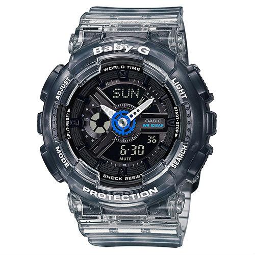 CASIOBABY-GBA-110JM-1A衝浪運動半透明果凍雙顯時尚腕錶黑