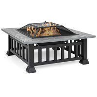 Best Choice Products 32in Outdoor Metal Square Table Top Wood Fire Pit w/ Mesh Lid Cover, Weather Cover, Poker - Black