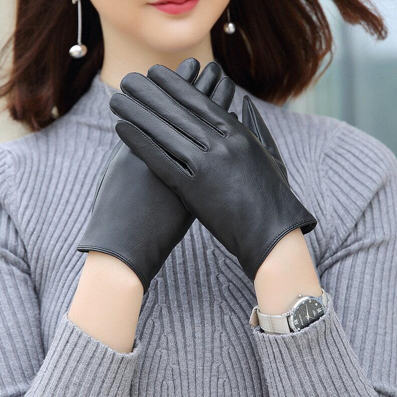 觸控手套真皮手套-黑色簡約山羊皮加絨女手套73wm54【獨家進口】【米蘭精品】 2