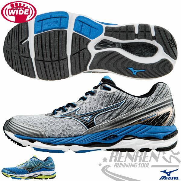 MIZUNO美津濃 男超寬楦慢跑鞋 WAVE PARADOX (灰*藍) 扁平足專用 輕量支撐型