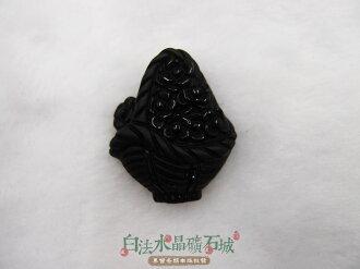 白法水晶礦石城 墨西哥 天然-精雕黑曜石 31mm墜子 花--圖案