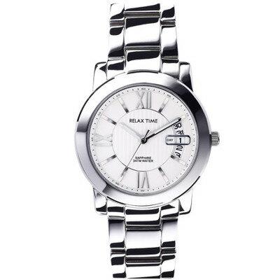 大高雄鐘錶城:RELAXTIME三針日期銀x白腕錶(RT-36-1M)38mm