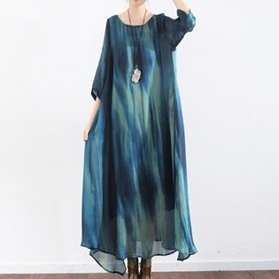 連身長裙寬版連衣裙-時尚優雅漸層渲染女上衣73sm24【獨家進口】【米蘭精品】