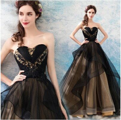 天使嫁衣【AE6699】雙色美胸層次美感高貴氣場造型禮服˙預購訂製款