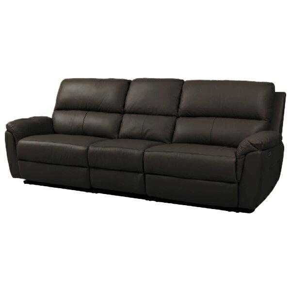 ◎半皮4人用電動可躺式沙發 N-BEAZEL DBR NITORI宜得利家居