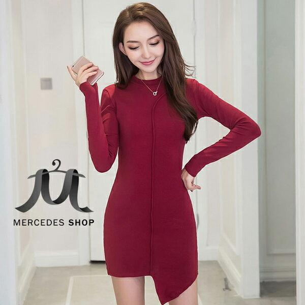 《全店75折》黑色修身不規則裙擺包臀連身裙長袖洋裝(S-L,2色)-梅西蒂絲(現貨+預購)
