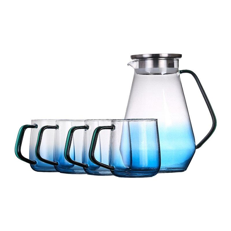璃海匠心耐熱無鉛玻璃涼水壺茶壺茶杯套裝1600ml一壺四杯家用北歐