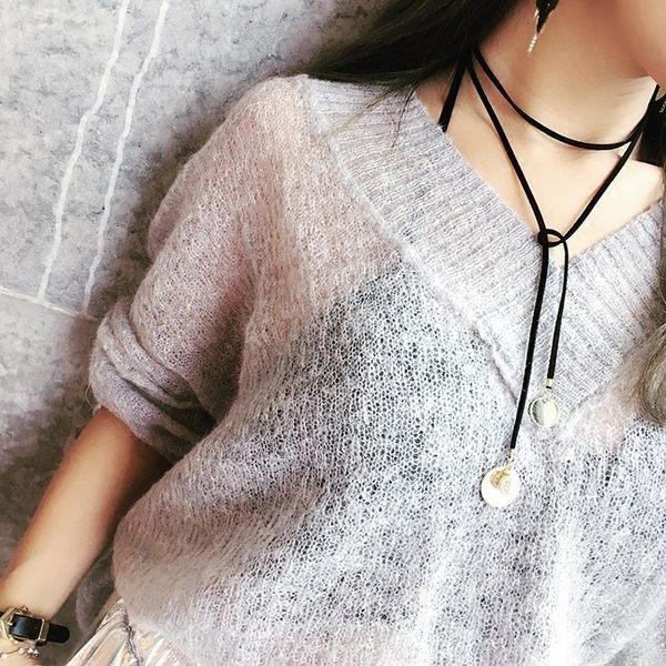 PS Mall  簡約風百搭多層金屬圓牌珍珠裝飾頸鏈系帶項鍊 ~G2305~