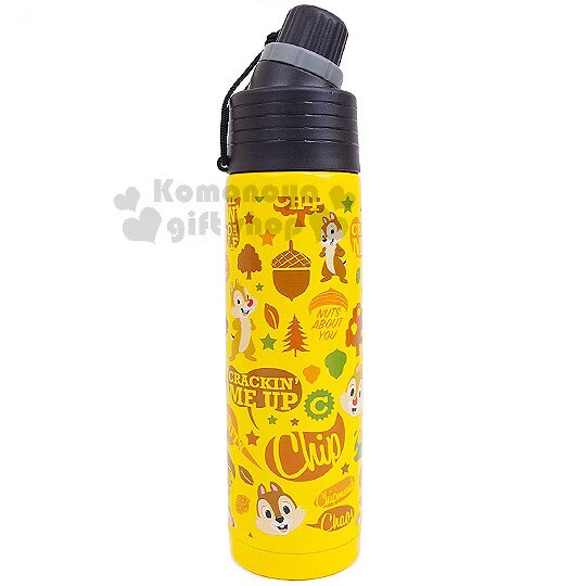 〔小禮堂〕迪士尼 奇奇蒂蒂 直飲式不銹鋼保溫瓶《黃.塗鴉風.500ml》保溫.保冷OK!