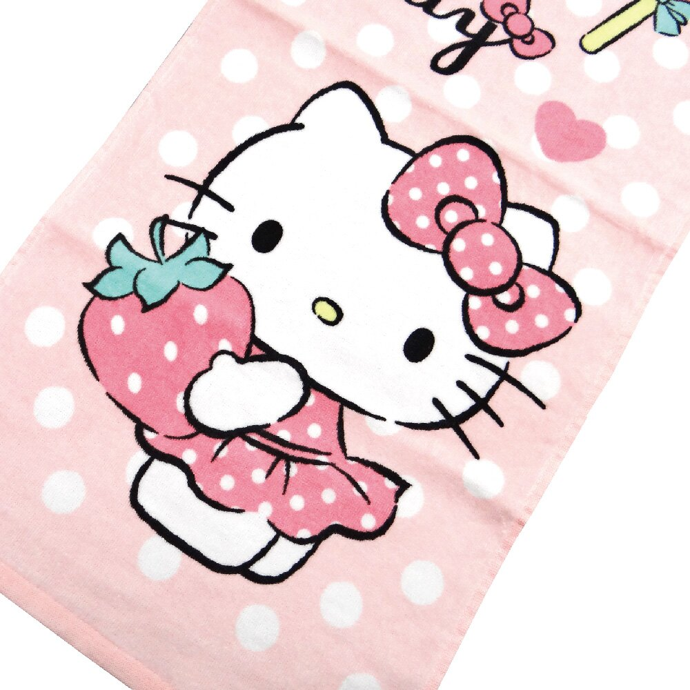 【Sanrio三麗鷗】凱蒂貓最愛草莓毛巾 100%棉 33x76cm
