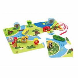 【淘氣寶寶】德國Hape愛傑卡拼圖系列-串串積木拼圖-動物.益智操作.2歲以上.另售其他系列木拼圖