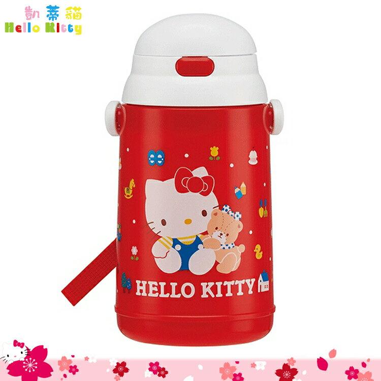 三麗鷗 凱蒂貓 Hello Kitty 塑膠水壺 彈蓋吸管式水壺 保冷專用400ml 日本進口正版 359729