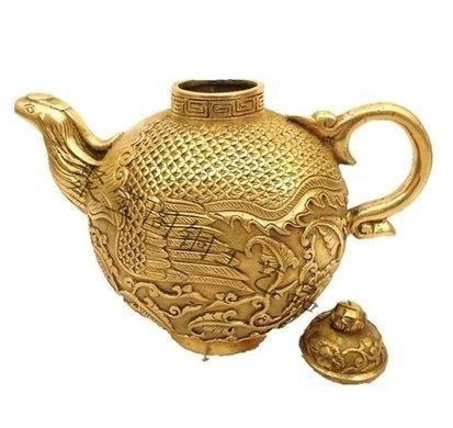 開光銅酒壺鳳凰茶壺水壺 家居裝飾擺設工藝品擺件