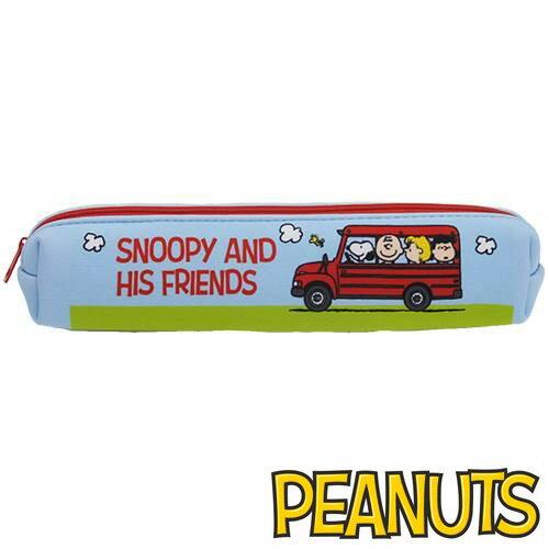 校車巴士款【日本進口正版】Snoopy 史努比 長型 防震 筆袋 長型筆袋 鉛筆盒 PEANUTS - 292568