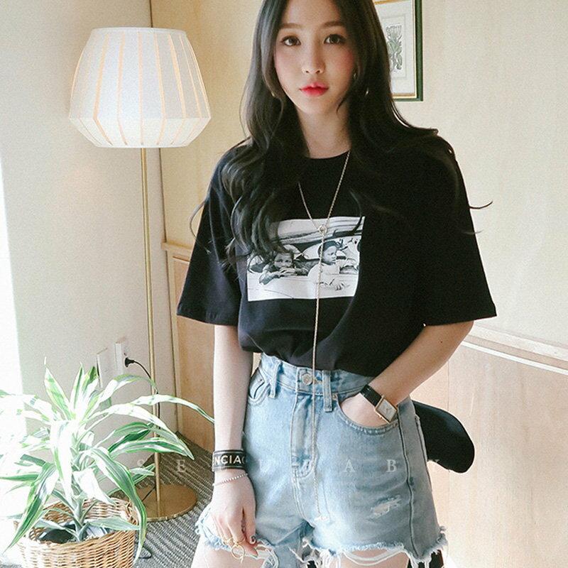 FINDSENSE G5 韓國 寬鬆 原宿風 百搭T恤 純棉半袖 學生 上衣