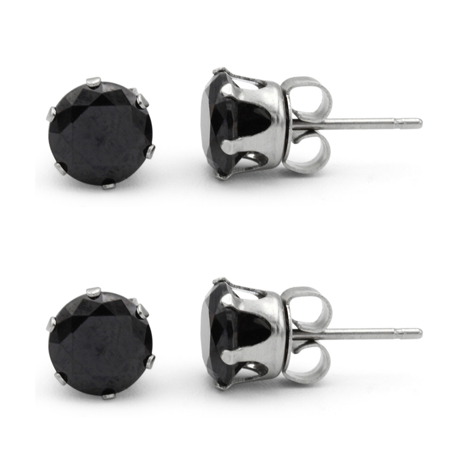 9142827b3 Black Cubic Zirconia Unisex Stud Earrings Stainless Steel Jewelry  Collection Round Studs 3-10 mm