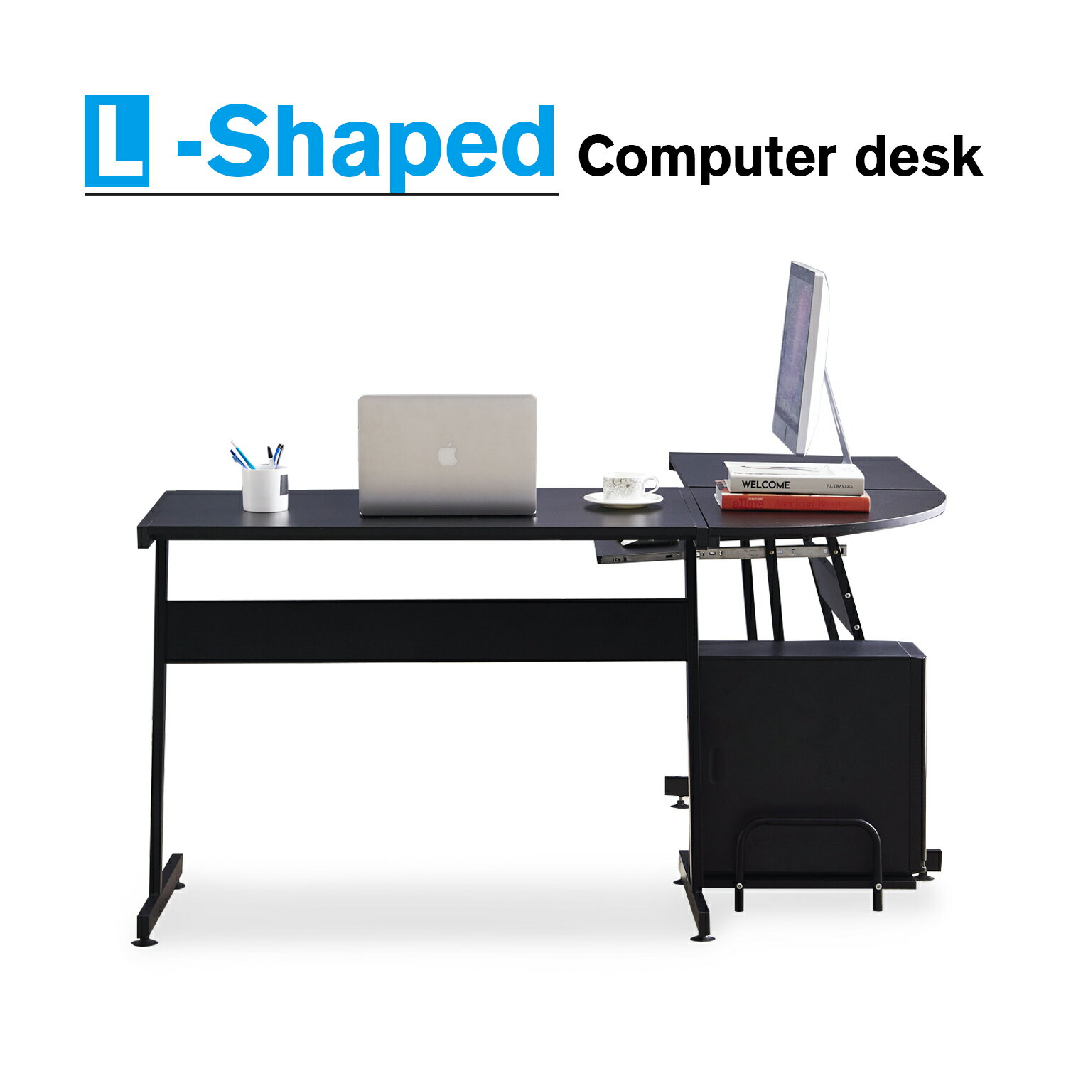 Office Desk Corner L Shaped Workstation Laptop Table With Keyboard Tray And Cpu Stand 0