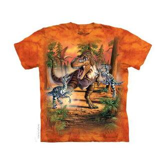 【摩達客】美國進口The Mountain 恐龍之戰(預購)純棉環保短袖T恤