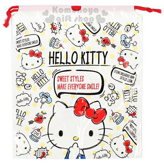 〔小禮堂〕Hello Kitty 防水束口袋《L.白.塗鴉風.黃點點.大臉》2017清涼夏日系列