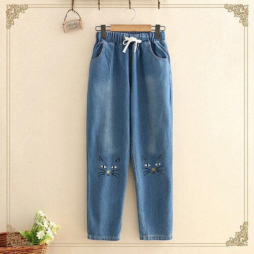 *ORead* 貓咪刺繡牛仔褲(2色S~L) 0