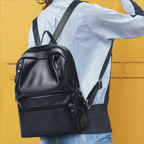 現貨-♥甜心小舖♥【新款單色皮革後背包】書包側背包雙肩包休閒包旅遊包包