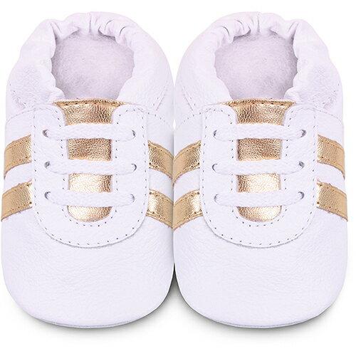 【hella 媽咪寶貝】英國 shooshoos 安全無毒真皮手工鞋/學步鞋/嬰兒鞋_純白金鞋帶運動型_102063 (公司貨)