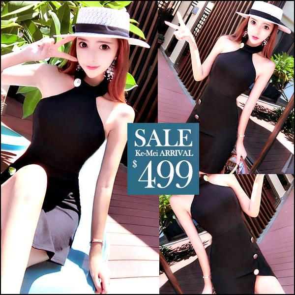☆克妹☆現貨+預購【ZT46326】歐美時鬆感吊頸摟空排釦針織連身洋裝