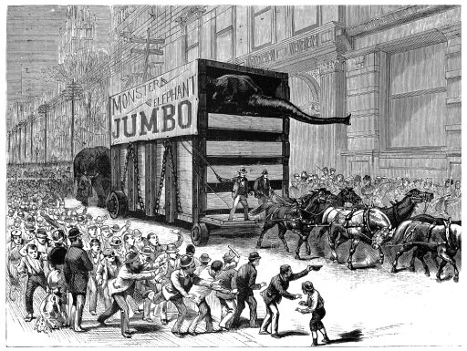 PT Barnum Jumbo 1882 Nnew Yorkers Hailing The Procession Of PT BarnumS Elephant Jumbo On Its Way From The Battery To BarnumS Circus Headquarters At Madison Square Garden After Arriving From England O 57998312dcaa49c15f847deddc5c1df1