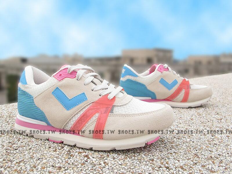 《超值7折》Shoestw【61W1SO67PK】PONY SOLA-T3 復古慢跑鞋 內增高 短V 麂皮 灰藍桃